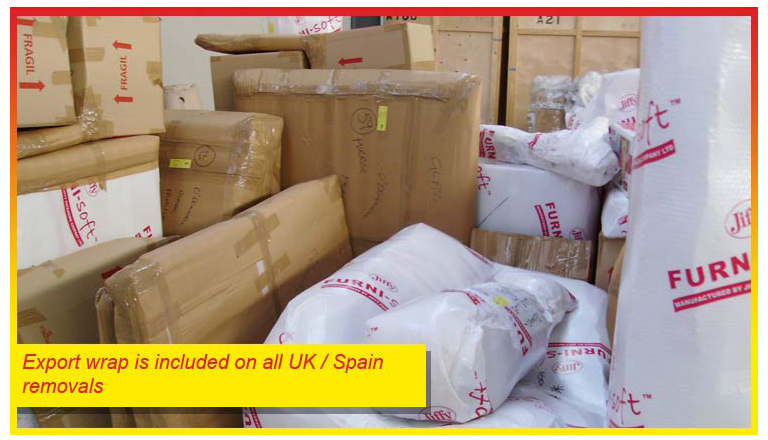 Export wrap is included on all UK to Spain removals